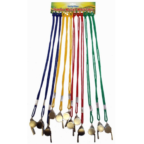 12 x Metal Silver Whistle On Coloured Neck Cord Festival & Party